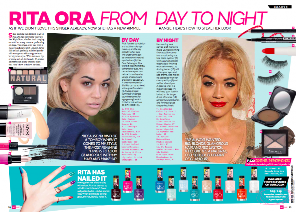VERY magazine: Rita Ora (beauty)