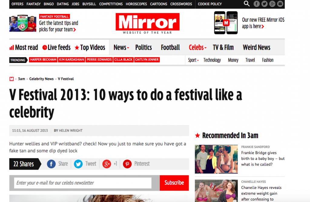 The Mirror - Festivals